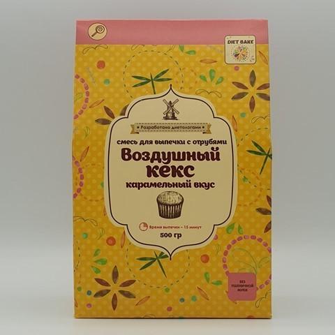 Смесь для кекса с отрубями карамельный вкус DIET BAKE, 500 гр