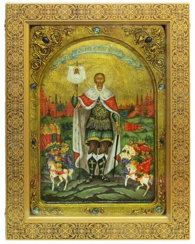 Живописная большая икона Святой благоверный князь Александр Невский 42х29см на кипарисе в березовом киоте