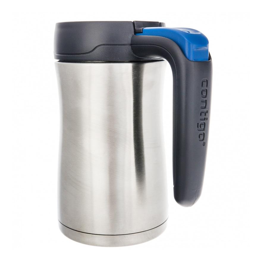 Термокружка Contigo Fulton (0.36 литра) серая с голубой кнопкой