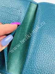 Обложка 2в1 для автодокументов и паспорта на застежке из натуральной кожи Флотер. Цвет Бирюзовый