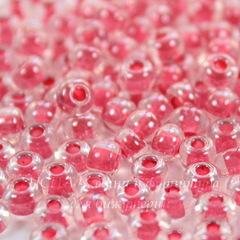 38698 Бисер 5/0 Preciosa Кристалл блестящий с розовым центром