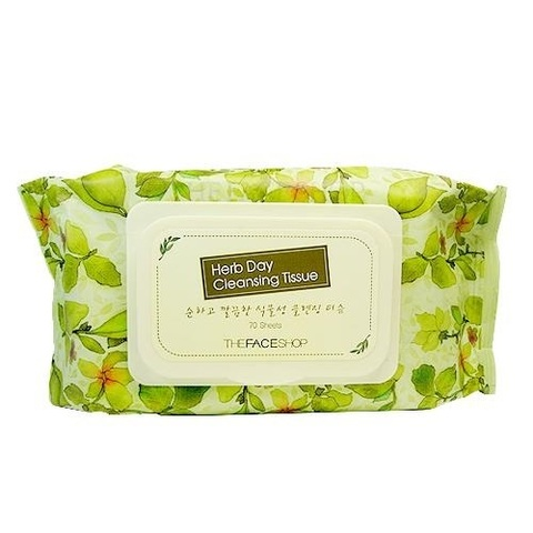 Очищающие салфетки THE FACE SHOP Herb Day Cleansing Tissue 70 шт.
