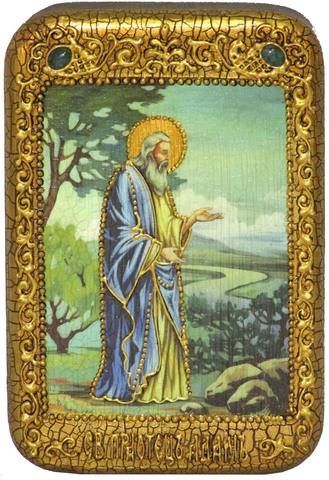 Инкрустированная икона Святой праотец Адам 15х10см на натуральном дереве, в подарочной коробке