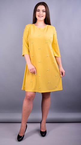 Жемчуг. Стильное платье плюс сайз для женщин. Горчица.
