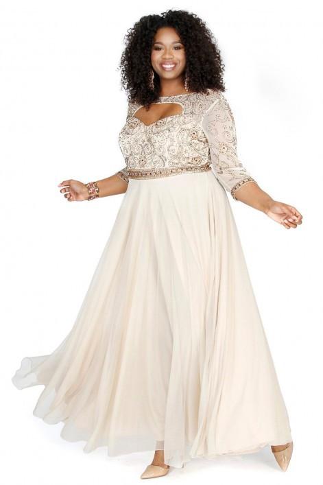 Shail K 71194 для шикарных форм платье, с расшитым камнями лифом и струящейся, пышной юбкой в пол,цвет:бежевый