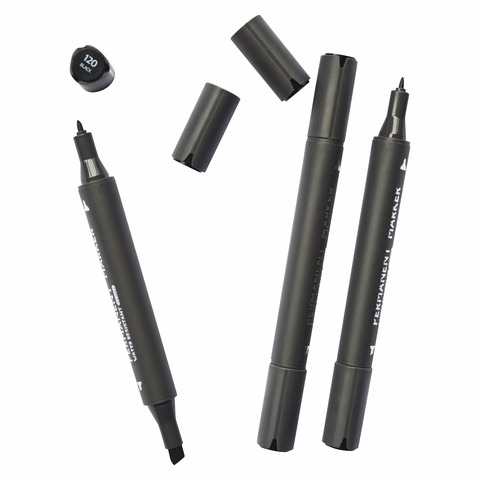 Двусторонний перманентный маркер STA, черный
