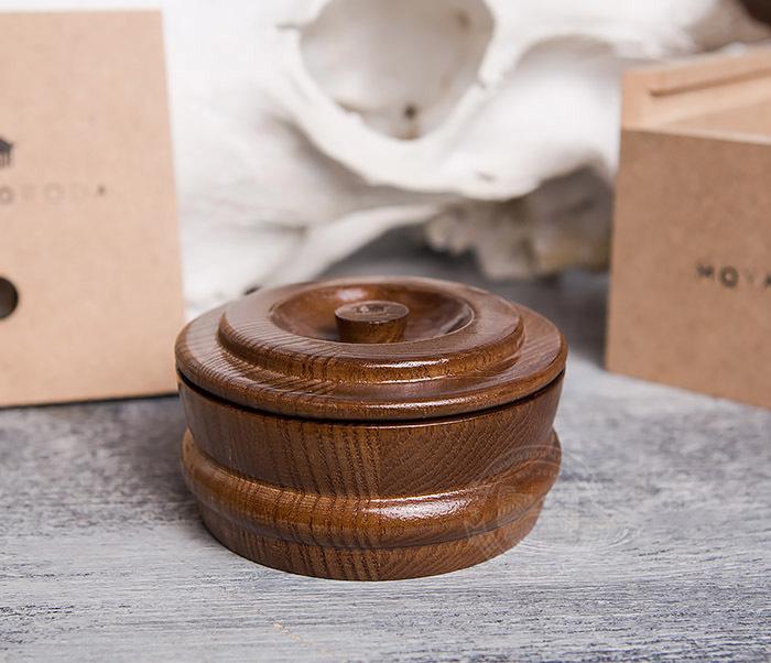 RAZ286 Деревянная чаша с крышкой для бритья от «MOYABORODA»