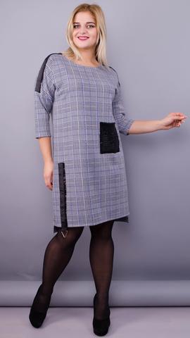 Лавли. Стильное платье больших размеров. Клетка синяя.