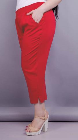 Миранда. Укороченные летние брюки плюс сайз. Красный.