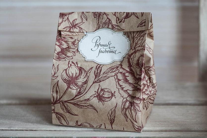 Крафт-пакет для мыла с рисунком Розы