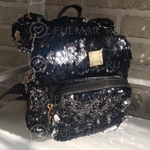 Рюкзак чёрный с ушами с пайетками меняющий цвет Чёрный-Серебристый Звезда