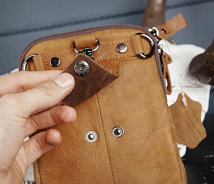 BAG517-2 Поясная сумка из натуральной кожи песочного цвета фото 07