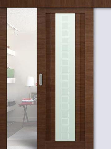 > Экошпон раздвижная Profil Doors №16X-Модерн, стекло квадро, цвет малага черри кроскут, остекленная