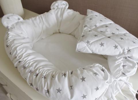 Комплект Babynest + одеяло белый с серыми звездами