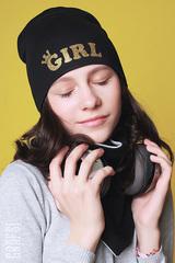 070К Шапка двухслойная GIRL. Черная.