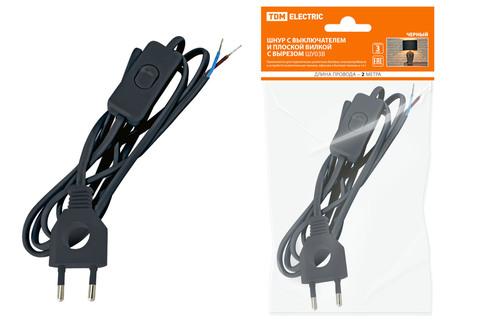 Шнур с выключателем и плоской вилкой с вырезом ШУ03В ШВВП 2х0,75мм2 2 м. черный TDM