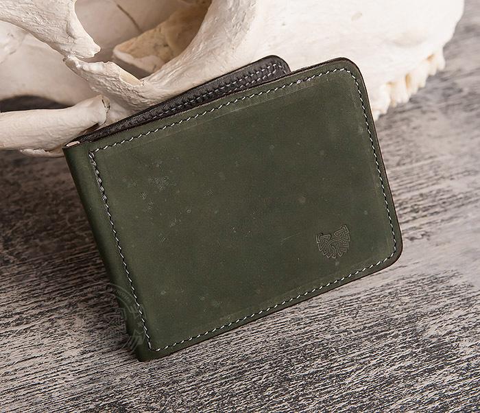 WB108-4 Яркий кошелек ручной работы с зажимом для денег. «Boroda Design»
