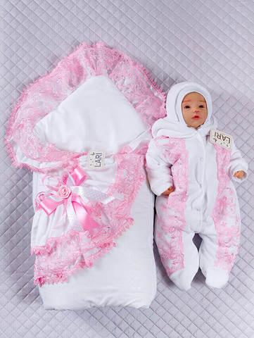 Зимний набор на выписку новорожденных из роддома Луиза (розовый/белый)