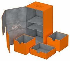 Ultimate Guard - Кожаная оранжевая коробочка с отделением для кубиков на 200 карт
