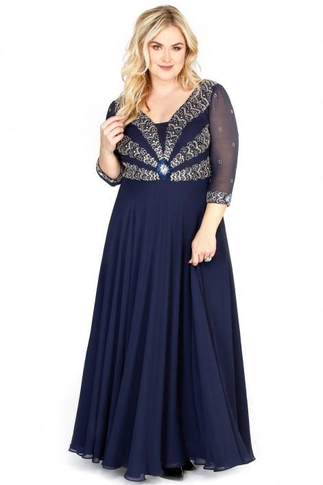 Shail K 71195  для шикарных форм платье, с расшитым камнями лифом и струящейся, пышной юбкой в пол,цвет:темно синий