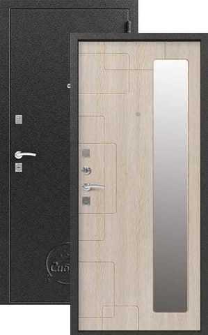 Дверь входная Сибирь S-6, 2 замка, 1 мм  металл, (серебро+дуб седой)