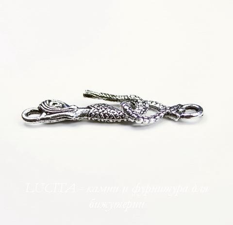 "Замок - крючок из 2х частей Quest Beads ""Русалка"" (цвет-античное серебро) 24х9 мм, 16х9 мм"