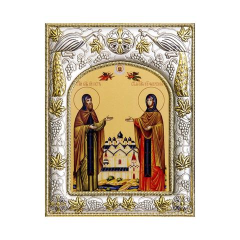 Серебряная икона именная Петр и Феврония Муромские 18x14см