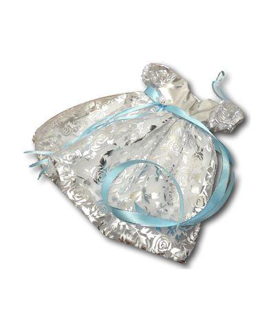 Платье рождественское - Голубой / серебро. Одежда для кукол, пупсов и мягких игрушек.