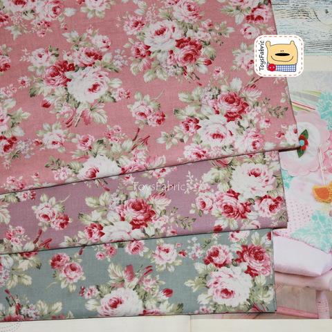 Корейский хлопок 20843 (шебби розы на серо-голубом) 45х55см