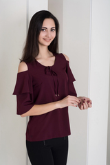 Одри. Молодежная блуза с воланами. Бургудни