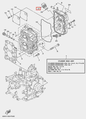 Пробка масляная для лодочного мотора F20 Sea-PRO (4-21)
