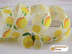 Лента репсовая Лимоны на горошке 22 мм