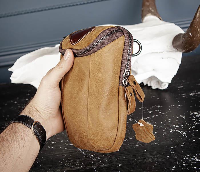 BAG517-2 Поясная сумка из натуральной кожи песочного цвета фото 15