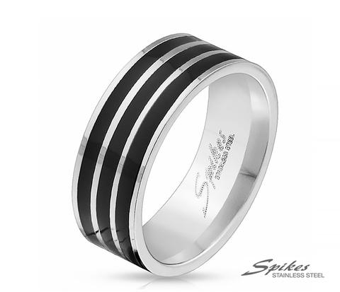 Мужское кольцо из стали с полосками черного цвета, «Spikes»