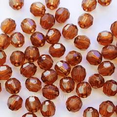 Бусина акриловая шарик с огранкой коричневый 8 мм, 10 штук