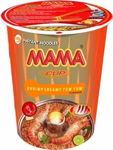 """Лапша б/п """"МАМА"""" со вкусом """"Кремовый Том Ям"""" стакан 70 гр."""