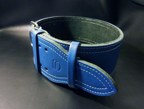 3-х слойный пояс для пауэрлифтинга с удобной пряжкой-зацепом (синий) вид сбоку