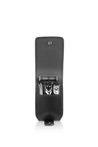 Дорожный бритвенный набор Mondial : в черном чехле: станок, пинцет, книпсер; серебристый