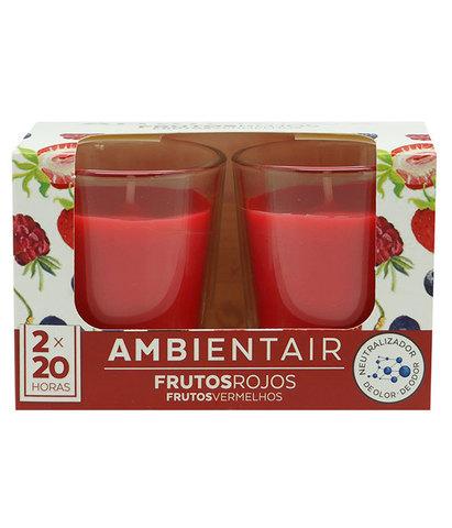 Набор из 2 ароматических свечей Красные фрукты, Ambientair