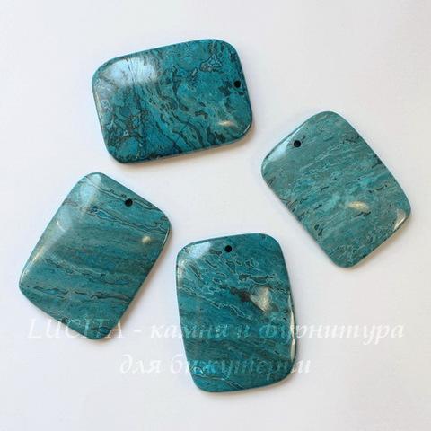 Подвеска Агат Крейзи (тониров) прямоугольная, цвет - голубой, 50-53 мм
