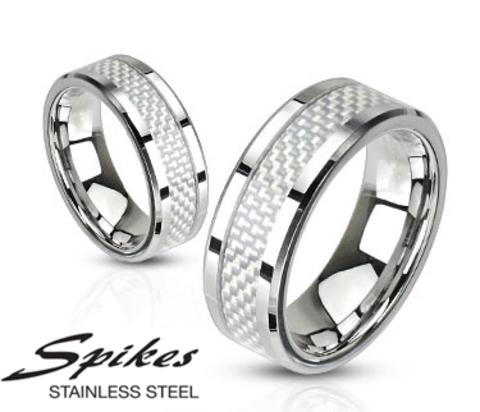 Мужское кольцо из стали со вставкой из карбона