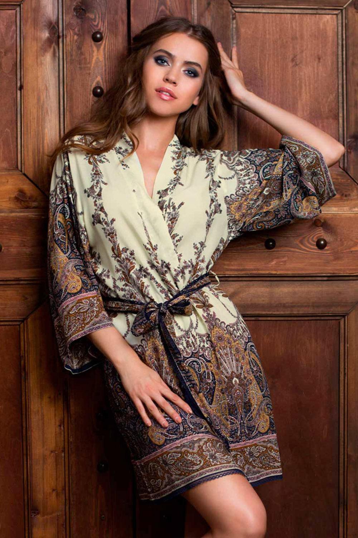 Халат кимоно женский короткий из вискозы с принтом (Короткие халаты)