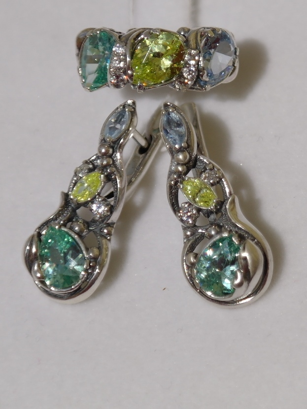 Анданте (кольцо + серьги из серебра)
