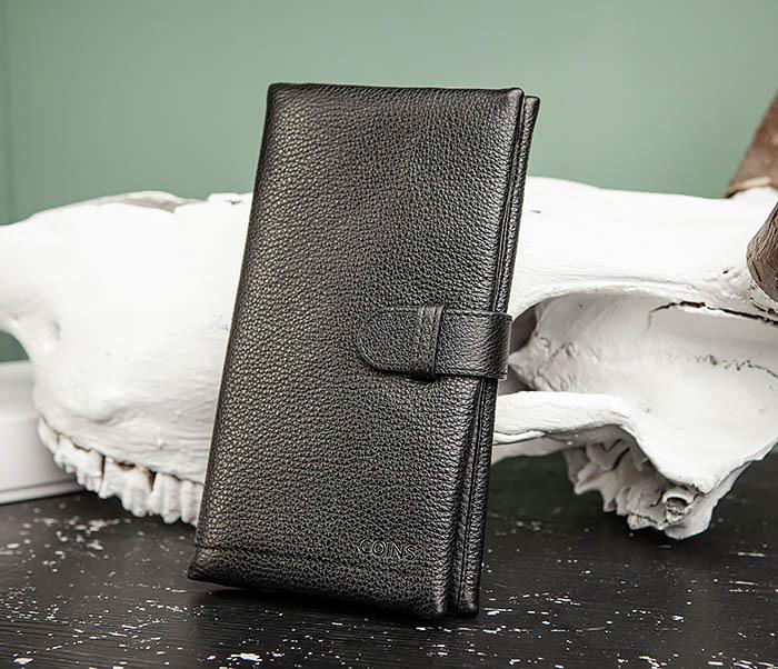 WL326-1 Мужской кожаный купюрник черного цвета, «Hanz»