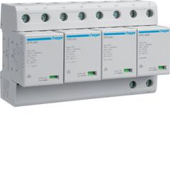 Комбинированный разрядник защиты от перенапряжения, 4пол., 8M, класс 1+2 или B, 100kA TT, с индикацией, сменными картриджами