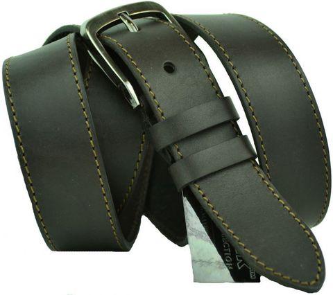 Ремень мужской большого размера батал прошитый из натуральной кожи коричневый для брюк 35 мм для 35Maybik-B-013