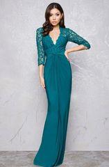 Mac Duggal 16205  платье в пол с расшитым верхом, прозрачные, кружевные рукава