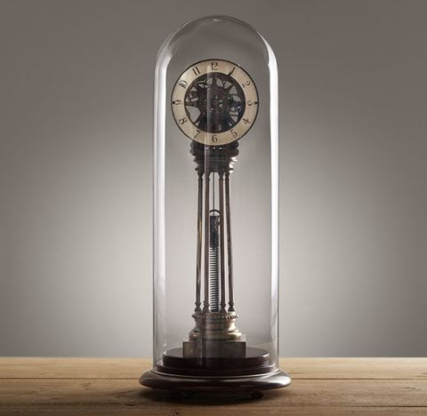 19th C. French Column Spring Clock Cloche
