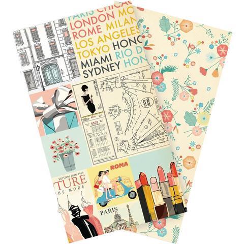 Набор внутренних блоков для тревелбука  - 11х21 см-Echo Park Traveler's Notebook - Metropolitan Girl Blank- 2 шт