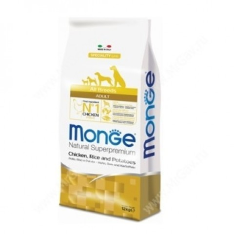 MONGE ADULT ALL BREED WITH CHICKEN 15 кг